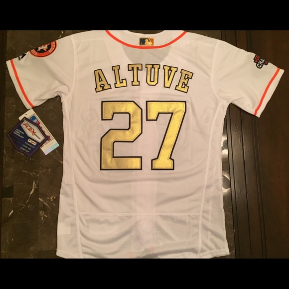 watch 08f8b 8bcc5 Jose Altuve Houston Astros gold stitched jersey NWT